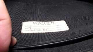 Named WW2 WWII US Navy Waves Leather Purse Uniform Accessory Handbag