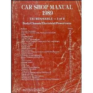 1989 Ford Taurus Mercury Sable Repair Shop Manual Original