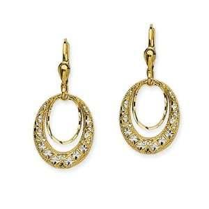 Gold Two Tone Door Knocker Lever Back Drop Earring CleverEve Jewelry