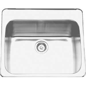 COMMERCIAL 25X22X8 NO HOLE 18 GAUGE TOP MOUNT STAINLESS STEEL SINK