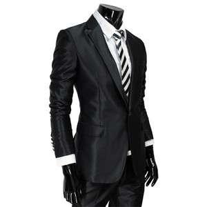 SH292) Mens Premium Shinny Slim BLACK Dress suit