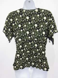 MAX STUDIO Green Black Print Short Sleeve Blouse Sz M