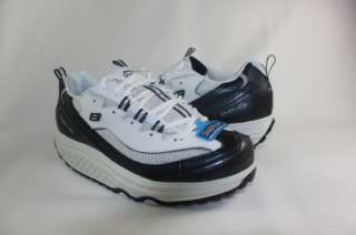 NEW SKECHERS WOMENS SHAPE UP ROCKIN OUT WHITE NAVY FITNESS SNEAKER