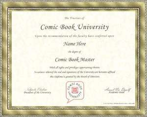 Comic Book Master University Diploma Degree Certificate