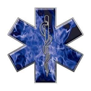 Star of Life EMT EMS Inferno Blue 4 Reflective Decal