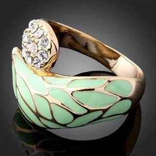 Arinna Crystal light green Gold GP fashion rare Rings