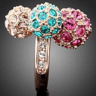 ARINNA Hot Colorful Swarovski Crystal Ball Rose GP Ring