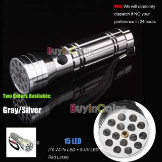 10 White LED + 5 UV LED Red Laser Flashlight Light Lamp