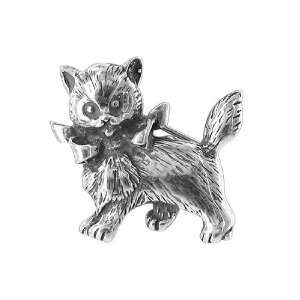 Sterling Silver Cute Kitty Cat 28mm x 27mm Pin Jewelry