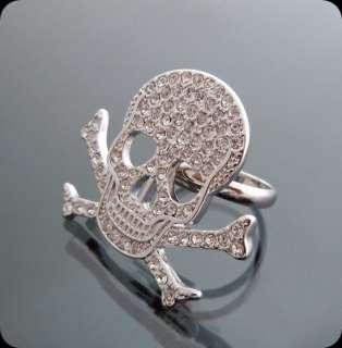 Handsome Skull Crystal Ring Adjustable Silver tone NEW