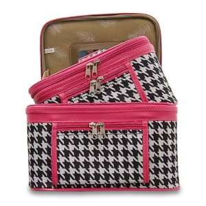 Train Case Cosmetic Toiletry 2 Piece Luggage Set Hot Pink