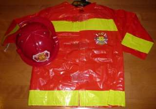 Boys FIREFIGHTER FIREMAN costume dress up Size 4  7 Black or Red coat