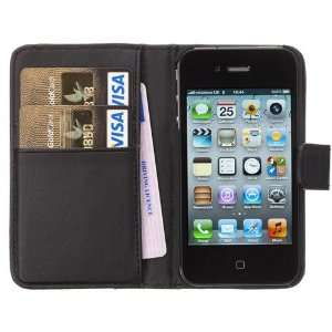 Black Flip Leather Wallet Case Cover Pouch For iPhone 4S