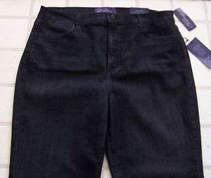 NOT YOUR DAUGHTERS JEANS NYDJ BLACK BUTTER WASH BEADED POCKETS SZ 16