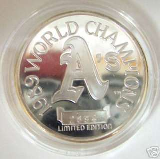 1989 AS WORLD SERIES CHAMPS SILVER PROOF LIMITED COIN