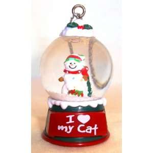 Love My Cat Christmas Snowman Snow Globe Ornament