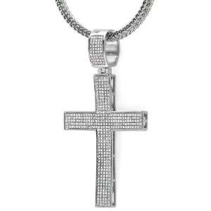 Sterling Silver White Diamond Micro Pave Mens Hip Hop Style Religious