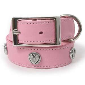 Circle Heart Leather Dog Collar 12(.5) PINK