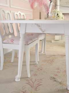 Shabby Cottage Chic White Dining Table 2 Leaf Wings LRG