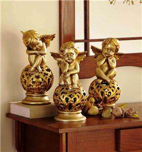 Gilded Christmas Holiday Cherub Angels Trio Statues
