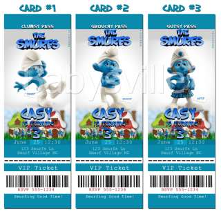 SMURFS Smurfette Custom Birthday Invitation Card TICKET