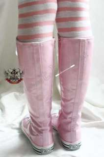 Kawaii diy KNEE SNEAKER SHINY PVC Patent Rain Pink BOOT