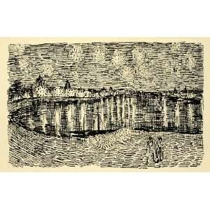 1920 Wood Engraving Vincent Van Gogh Pen Sketch Drawing