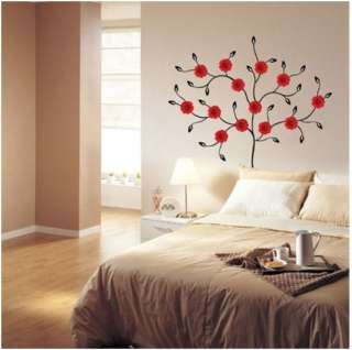 RED GERBERA TREE PEEL& STICK Adhesive Removable Wall Decor Accents