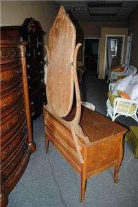Antique Golden Tiger Oak Dresser Vanity with Mirror Circa 1900
