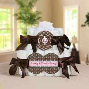 Mommy Personalized Square   2 Tier Diaper Cake   Baby Shower Gift