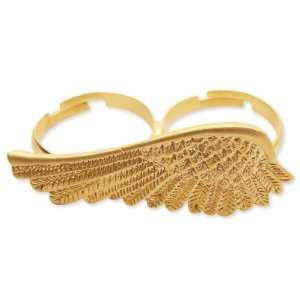 Detailed Angel Wing Double Adjustable Ring Matte Gold Tone Jewelry