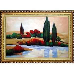 Modern Landscape, River, Colorful Trees Oil Painting, with Linen Liner