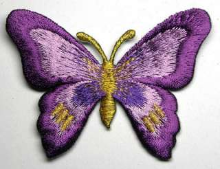 VIOLET FANCY BUTTERFLY IRON ON PATCH EMBROIDERED I133
