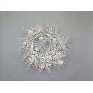 Snow Drift White Iced Pine/Cone 24 Artificial Christmas Wreaths