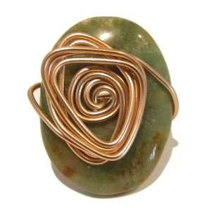 Moss Agate Ring 05 Wire Green Oval Copper Wrapped Crystal
