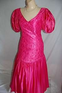 vintage 80s party dress neon fuschia pink satin lace n satin prom