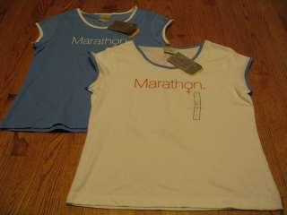 NIKE Dri Fit Womens Marathon T SHIRT LG Blue/White NEW