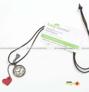 2012 Women Red Heart Clock Rabbit Long Necklace New