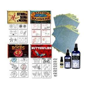 4 Tattoo Flash Art Books And Stencil Paper Bundle