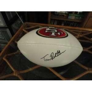 Tom Rathman Signed San Francisco 49ers Logo Football   Autographed