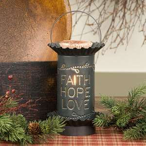 Electric Punched Tin Faith Hope Love Tartwarmer Melter Country