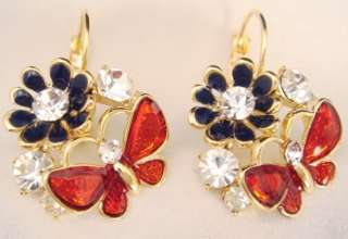 18K GOLD FILL USE CLEAR SWAROVSKI CRYSTAL BLUE RED FLOWER BUTTERFLY
