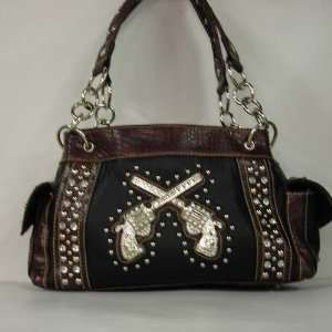 Western Rhinestone Handbag Crossed Pistols Purse