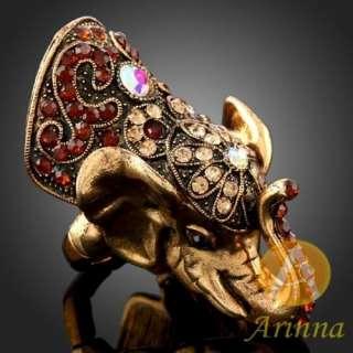ARINNA Ladies Fancy Crystal Elephant Gold GP Fashion Ring Swarovski