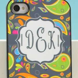 Apple iPhone 4 4S Paisley Print Personalized Monogram Hard Case (4