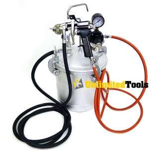 Gallon Air Spraying Pressure Pot Tank HD Spray Gun 6FT Dual Hose