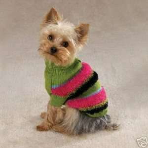 Fuzzy Stripe Turtleneck Dog Sweater MEDIUM Kitchen