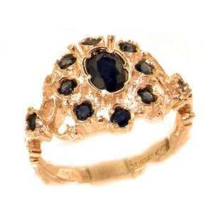 Unusual Solid Rose Gold Natural Sapphire Ring with English Hallmarks
