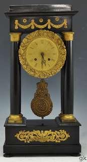 Antique French Black Mantle/Portico Clock Gilt Bronze Mounts 1850 1870