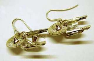 Star Trek 1701 A Enterprise Gold Earrings 1 inch